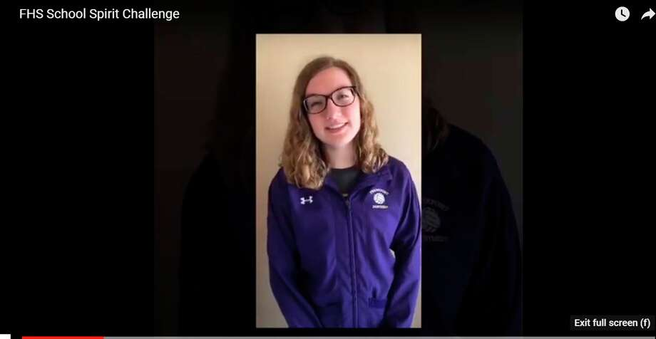 Sydney Miller introduces Frankfort High School's spirit video.