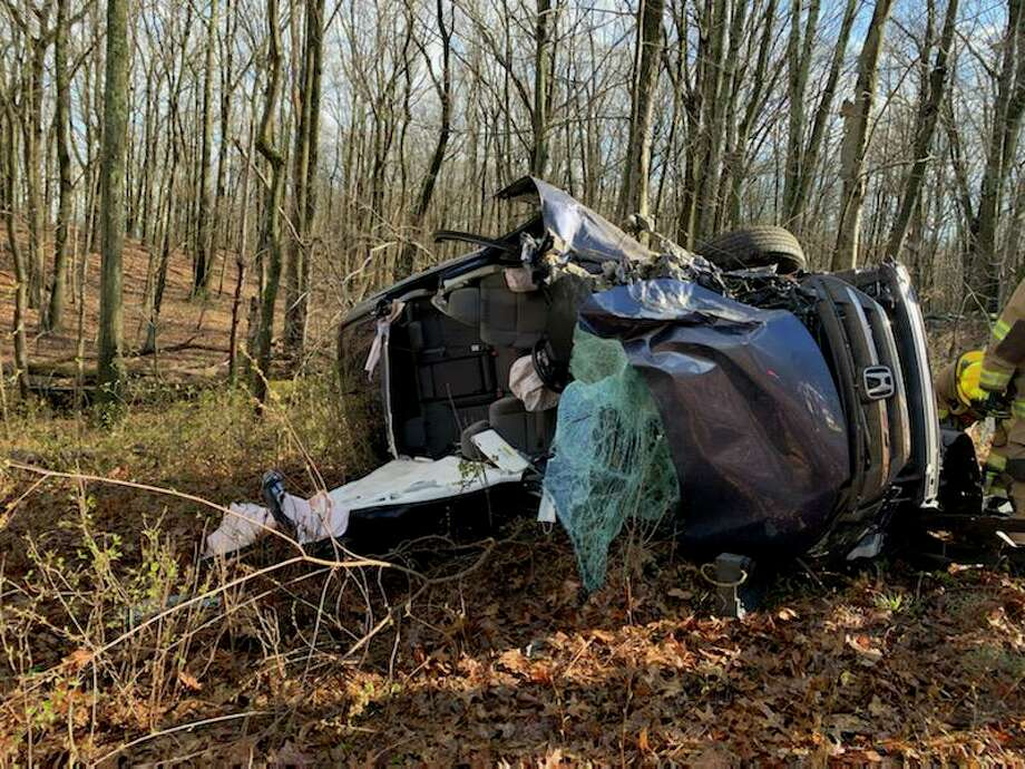One person was seriously injured after a rollover motor vehicle accident Tuesday on Buddington Road and L'Hermitage Drive. Photo: Shelton Fire Department / Contributed Photo / Connecticut Post