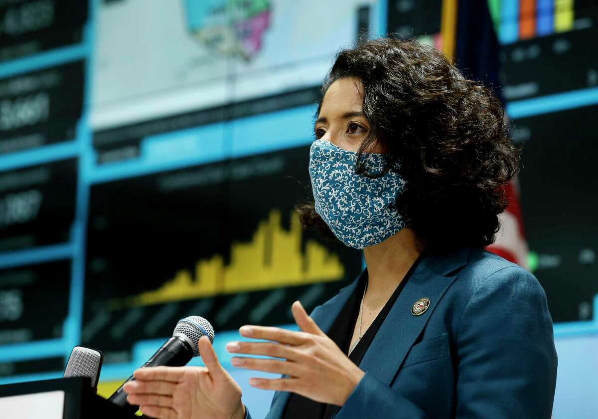 Harris County Judge Lina Hidalgo, shown here in April, is expected to downgrade the county to the worst threat level of the pandemic Friday and call for a return to stay-at-home rules.