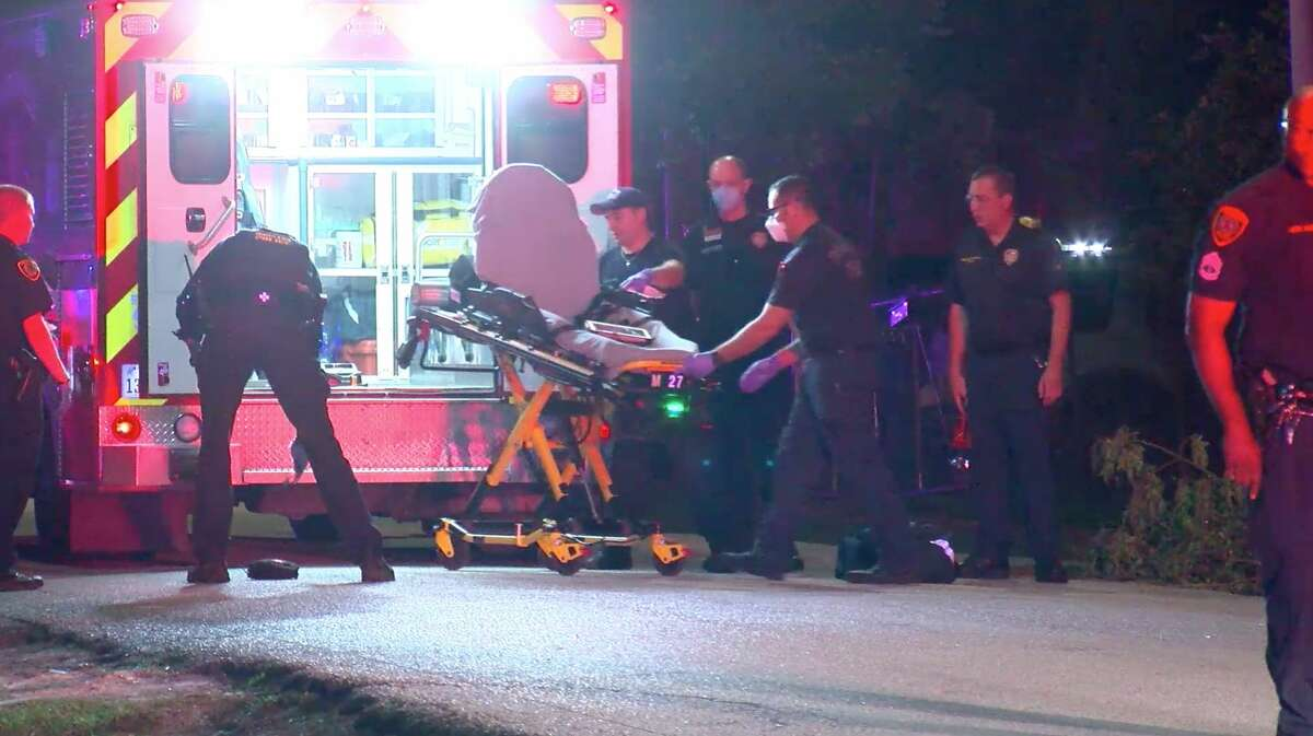 Houston paramedics work the scene of a deadly officer-involved shooting in the 800 block of Gazin on Tuesday, April 21, 2020.