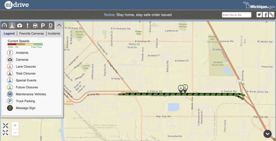 A screenshot of the Michigan Department of Transportation's Mi Drive website shows the project location. Photo: MDOT MiDrive Website Screenshot