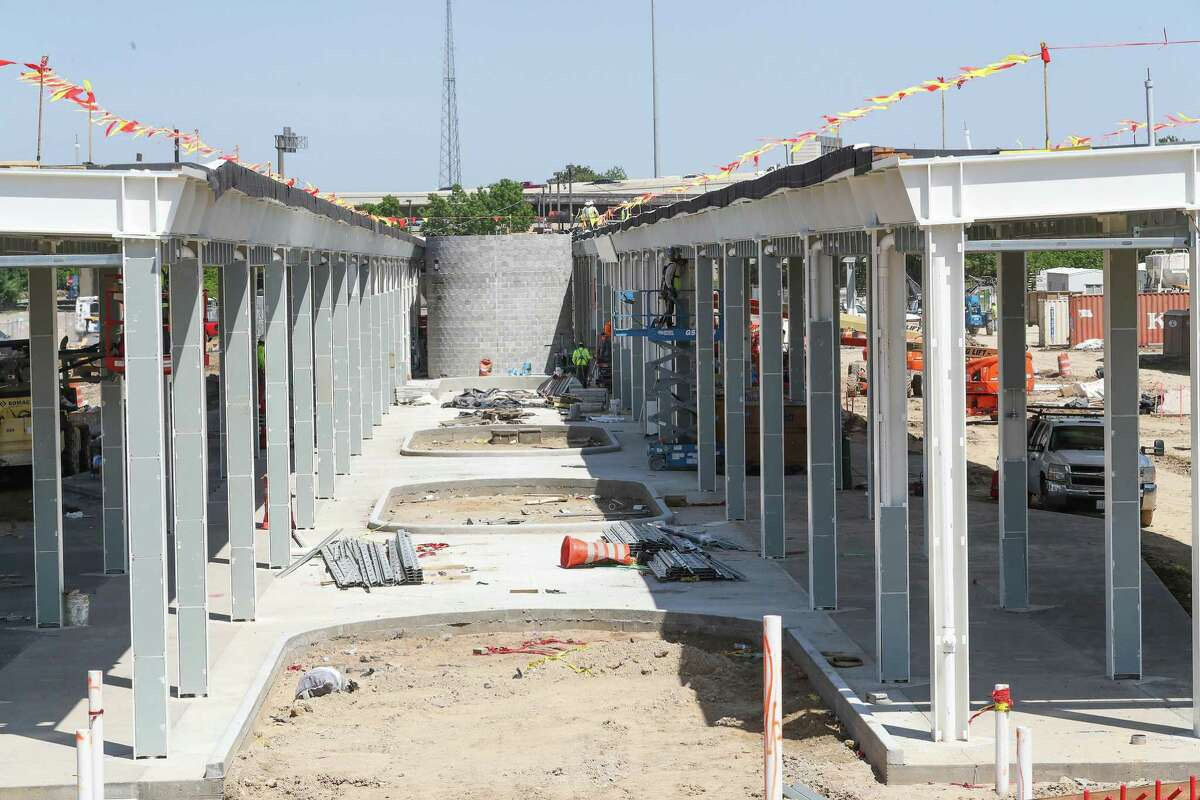 Construction continues at the Northwest Transit Center on April 21, 2020, near Loop 610 and Interstate 10 north of Uptown. Metropolitan Transit Authority is spending $34 million to expand the depot, which will play a major role in upcoming bus service additions.