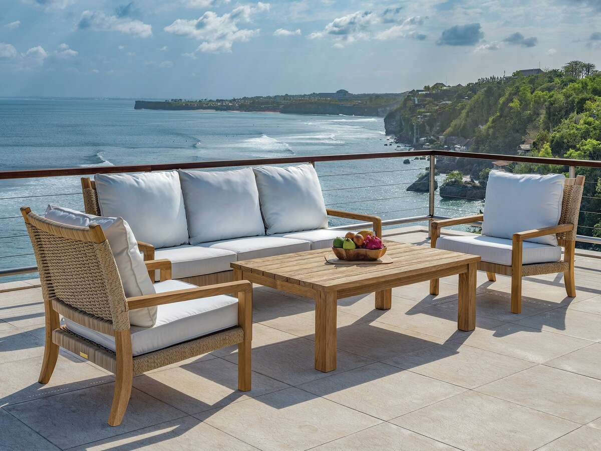 Families spending quality - and quantity - time together this spring and summer can enjoy meals, games, and conversation on beautiful outdoor furnishing sets, like this one from Seasons Too Ltd. in Darien.