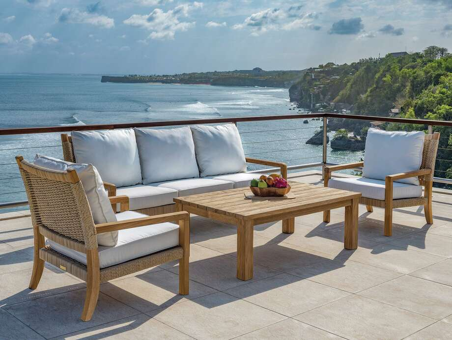 Families spending quality — and quantity — time together this spring and summer can enjoy meals, games, and conversation on beautiful outdoor furnishing sets, like this one from Seasons Too Ltd. in Darien. Photo: Seasons Too Ltd. / / Copyright © 2019 Christopher Leggett All rights reserved