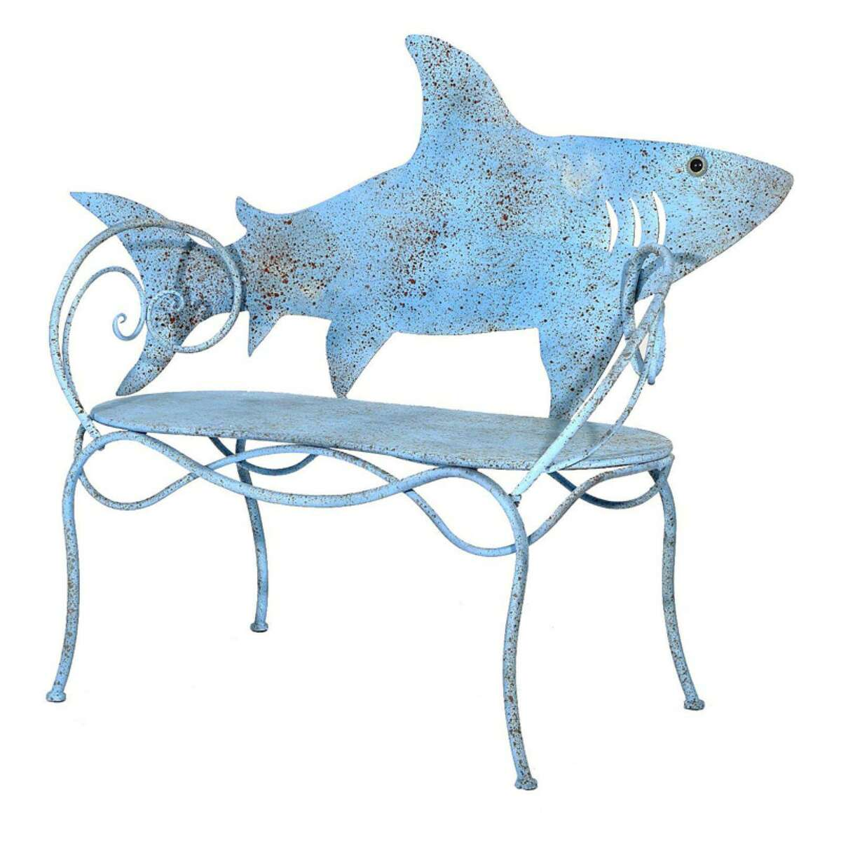 The Dock Shop, with locations in Darien and Westport, carries nautical- and beach-themed home decor items, such as this fun metal 'shark' bench.