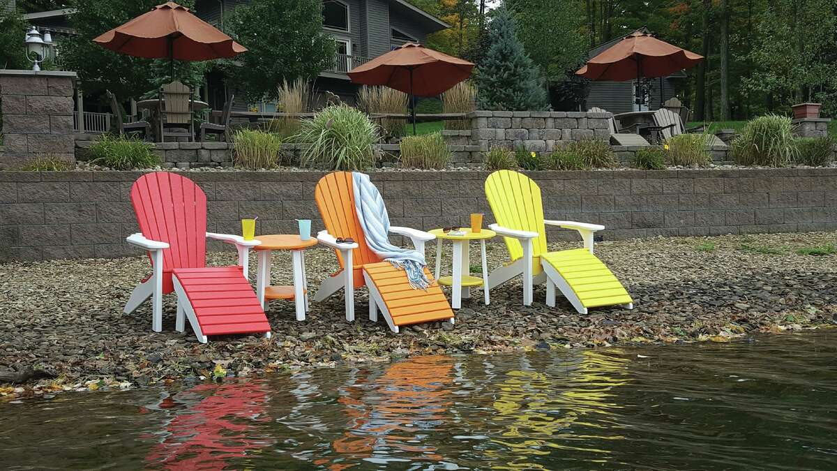 Summertime and the living is easy: Against the Grain in New Canaan carries a wide array of outdoor living products, such as these colorful Adirondack chairs. The store has many items in stock, and offers curbside pickup or delivery to your yard, according owner Chris Meier.