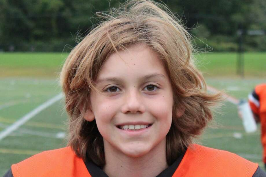 Logan Hale, an 11-year-old Ridgefielder, is battling acute leukemia at Memorial Sloan Kettering Hospital in Manhattan. Photo: Ridgefield Youth Football /Contributed Photo