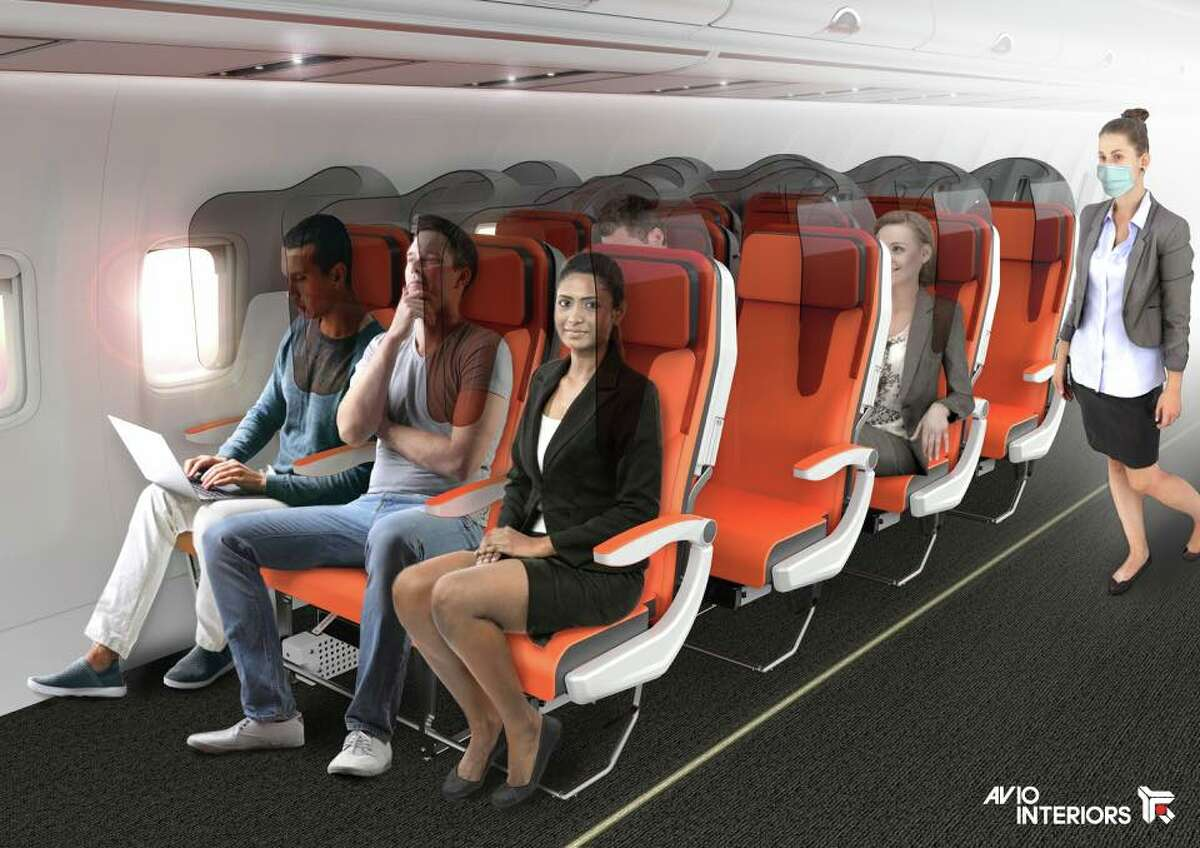 Aviointerior's Glassafe resembles a see-through plastic hood attached onto existing economy class seats.