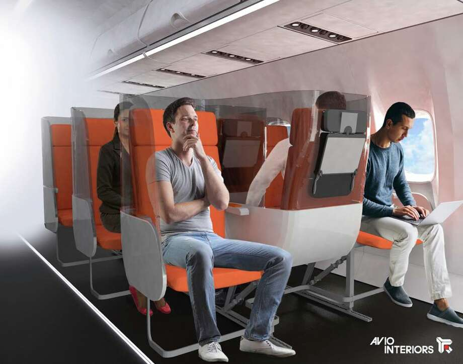 Aerointerior's Janus concept is a row of three seats where every middle seat is positioned backwards. Fliers in the aisle and window seats face forward in the direction of flight. Photo: Aviointeriors S.p.a.