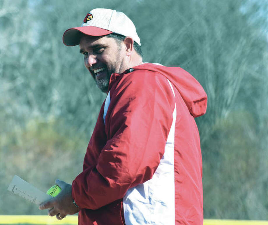 Alton softball coach Dan Carter, shown during the 2018 season, will double up as a Redbirds varsity coach after being confirmed Tuesday night for the girls volleyball position. Carter previously coached Alton volleyball for 15 seasons from 1994-2008 and is the program's all-time leader in victories as a coach. Photo: Telegraph File Photo