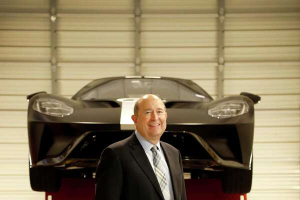 Group 1 Automotive CEO Earl Hesterberg poses in the garage at Sterling McCall Ford, in Houston, Wednesday, Feb. 5, 2020.