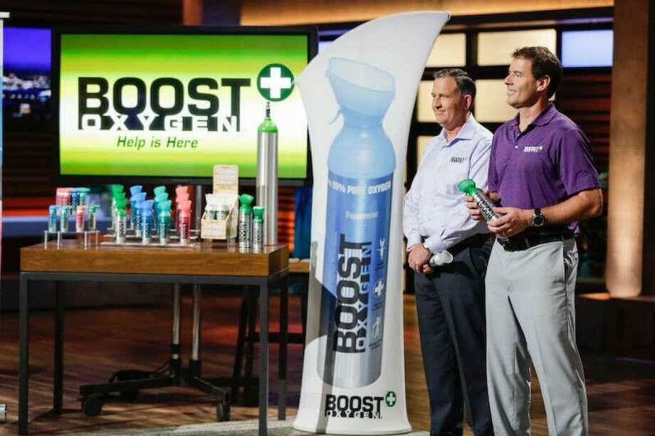 "From left, Boost Oxygen Chief Operating Officer Michael Grice and Chief Executive Officer Rob Neuner on ABC's ""Shark Tank."" Photo: Contributed Photo"