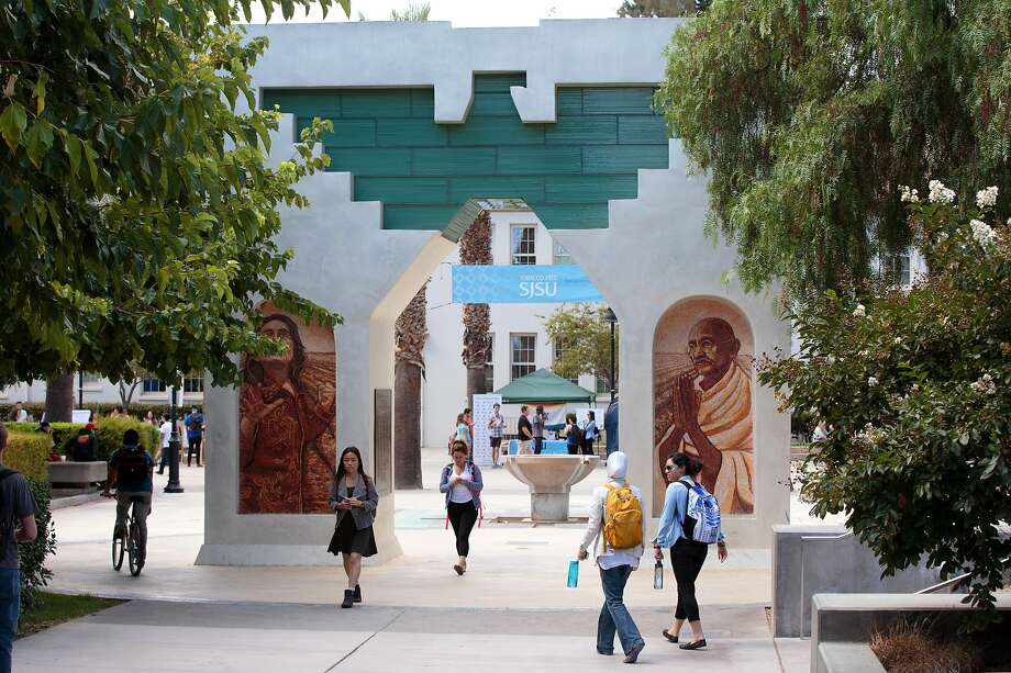 The Cesar E. Chavez Monument is seen at San Jose State University in this undated photo. Photo: Muhamed Causevic / San Jose State University