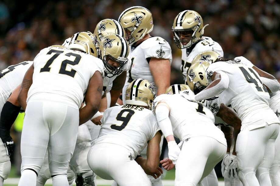 NEW ORLEANS, LOUISIANA - JANUARY 05: Drew Brees #9 of the New Orleans Saints in the huddle during the NFC Wild Card Playoff game against the Minnesota Vikings at Mercedes Benz Superdome on January 05, 2020 in New Orleans, Louisiana. (Photo by Sean Gardner/Getty Images) Photo: Sean Gardner/Getty Images / 2020 Sean Gardner
