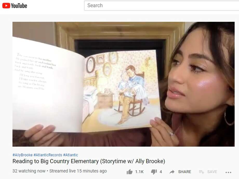 """Ally Brooke, a San Antonio native, hosted a virtual story time on YouTube dedicated to Big Country Elementary, a school in the Southwest Independent School District, on Wednesday. Ally Brooke chose """"Love You Forever,"""" the beloved story of a mom's enduring love for her son by Robert Munsch, to read to the kids. Though the online event was coordinated for the local school kids, anyone with access to YouTube could watch the event live or save it for later. Photo: YouTube Screenshot"""