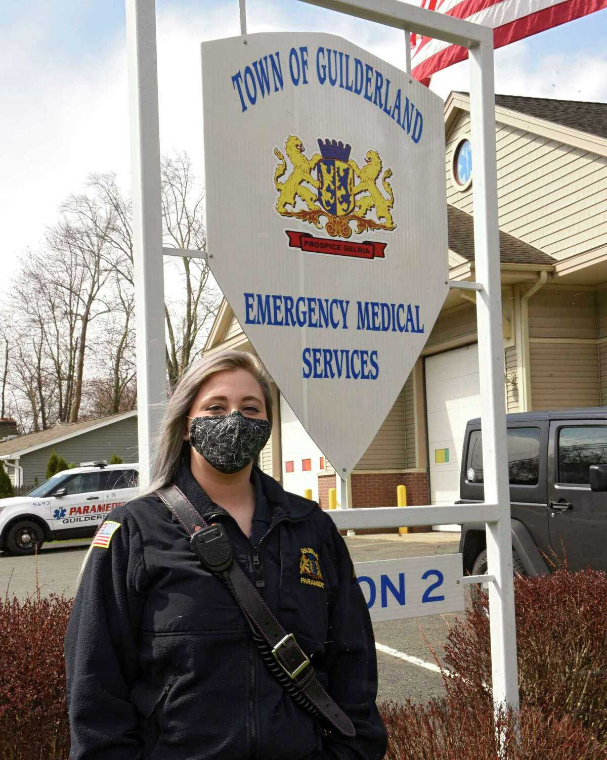 Guilderland emergency medical technician Caitlin D'Allesandro stands outside the emergency medical services garage on Wednesday, April 22, 2020 in Schenectady, N.Y. (Lori Van Buren/Times Union)