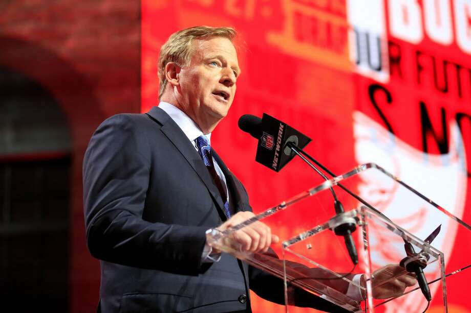 FILE - NFL Commissioner Roger Goodell speaks during the first round of the 2019 NFL Draft on April 25, 2019 in Nashville, Tennessee. (Photo by Andy Lyons/Getty Images) Photo: Getty Images / 2019 Getty Images