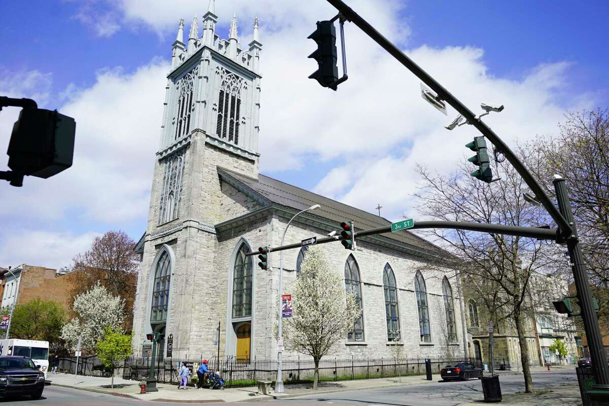 A view of St. Paul's Church on Wednesday, April 22, 2020, in Troy, N.Y. Troy residents, J.R. Pattison, and Carl Erickson are leading an effort to get Troy residents and churches to ring bells and make a ruckus on Thursday April 23rd, calling the event Ring for Recovery. (Paul Buckowski/Times Union)