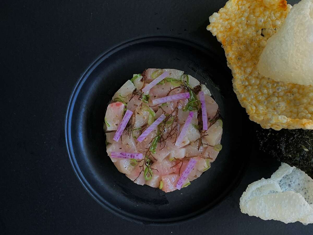 Hamachi, seaweed, black lime and daikon with puffed rice chips from Lord Jiu's.