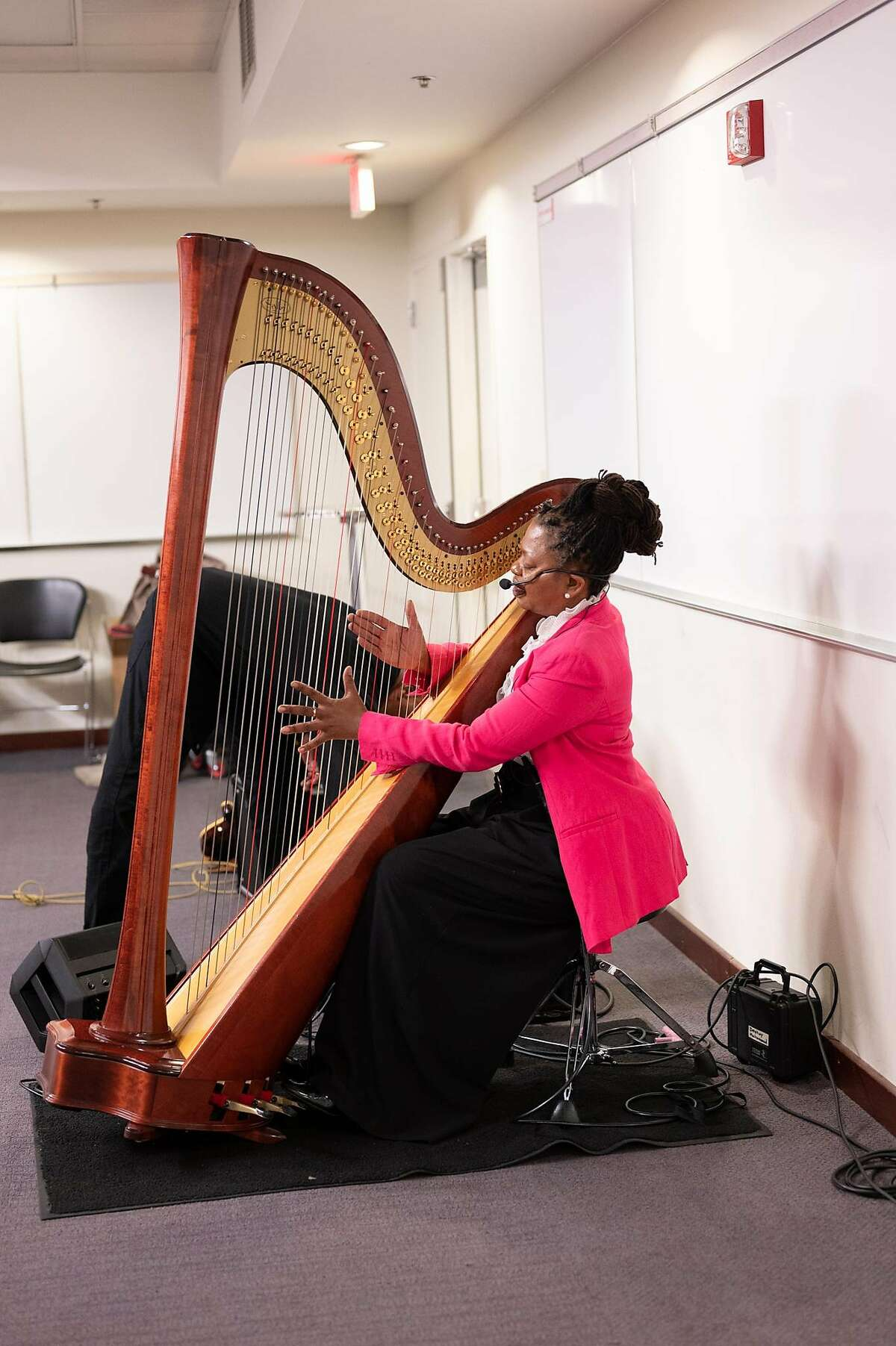 Harpist�Destiny Muhammad, who will be leading the Gathering All Muslim Artists Ramadan music workshop on May 2 via a live stream.