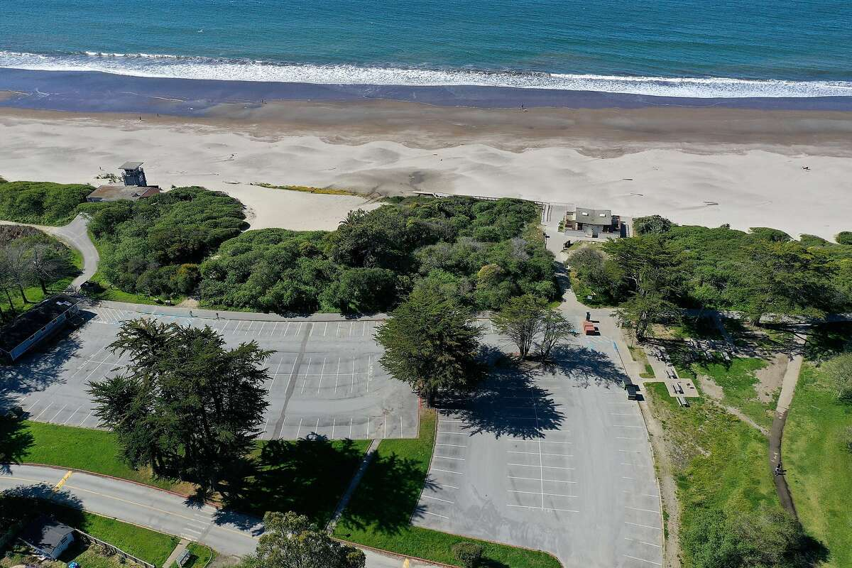 STINSON BEACH, CALIFORNIA - APRIL 01: An aerial drone view of Stinson Beach, which is closed because of the Coronavirus (COVID-19), on April 01, 2020 in Stinson Beach, California. Officials in seven San Francisco Bay Area counties have extended the shelter in place order until May 1 in an attempt to slow the spread of the virus. (Photo by Ezra Shaw/Getty Images)