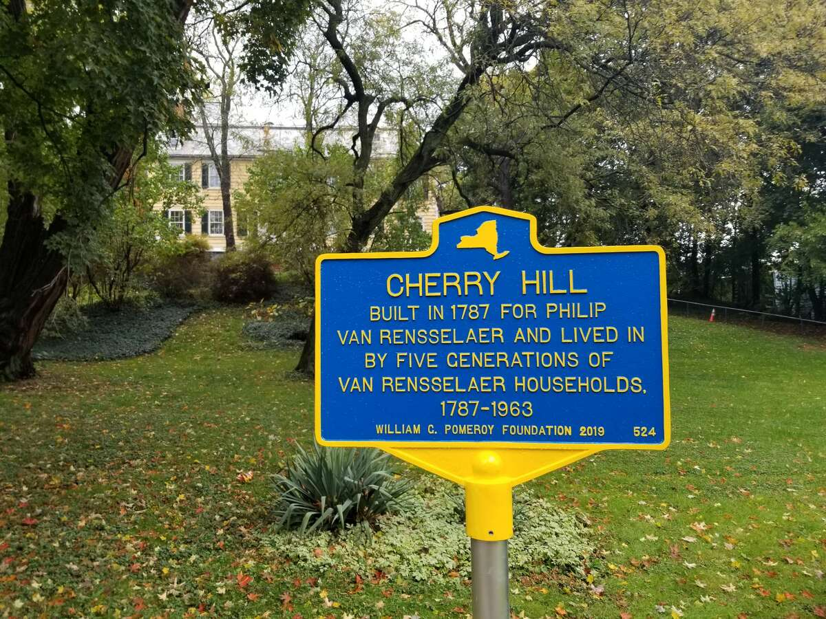A sign in front of the longtime home of the Van Rensselaer family in Albany.