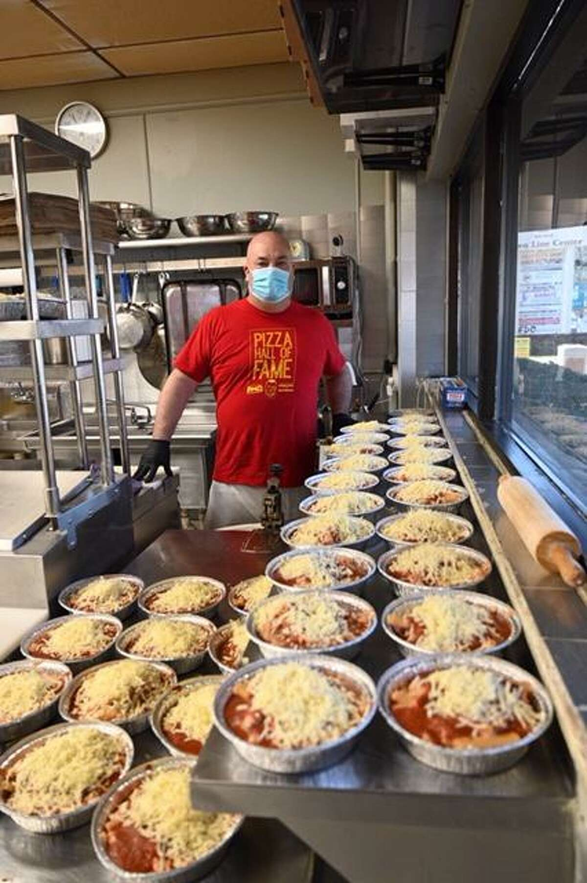 Dennis Letizia prepared 100 baked ziti dinners for workers at Norwalk Hospital on behalf of Our Lady of Fatima Catholic Academy.