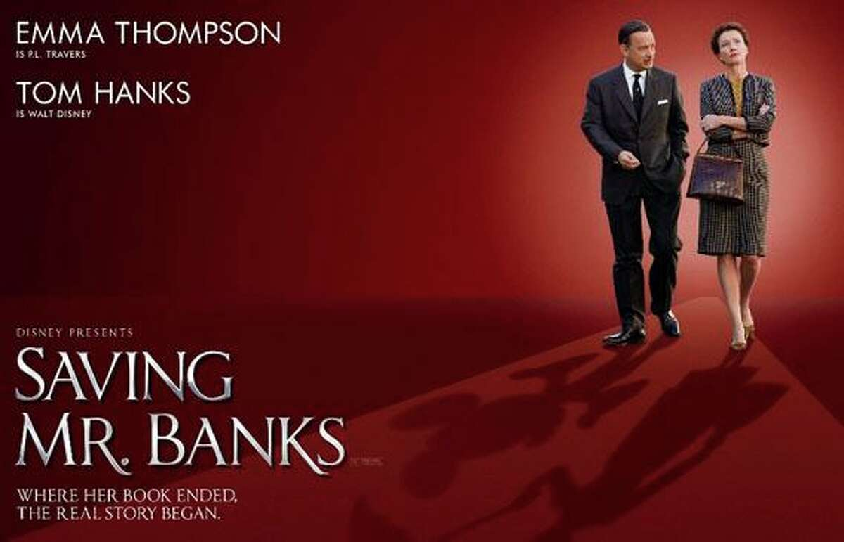 """""""Saving Mr. Banks"""" stars Tom Hanks as Walt Disney and Emma Thompson as writer P.L. Travers as Disney tries to win Travers' agreement to make a movie of her book, """"Mary Poppins."""""""