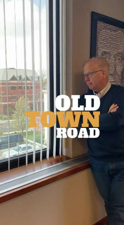"Danbury Mayor Mark Boughton performed Lil Nas X and Billy Ray Cyrus' hit ""Old Town Road"" to thank those who donated to Daily Bread Food Pantry. Photo: Screenshot From Facebook / Contributed / The News-Times Contributed"