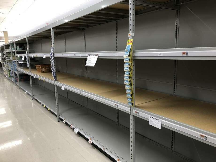 An empty shelf for toilet paper at a local supermarket. Photo: Viktoria Sundqvist/Hearst CT Media