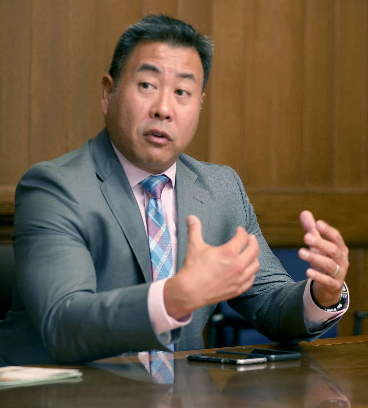 Sheriff Paul Miyamoto meets with the Chronicle editorial board about his election campaign at the SF Chronicle on Wednesday, Sept. 18, 2019 in San Francisco, Calif.