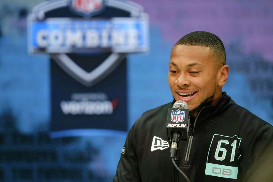 Minnesota defensive back Antoine Winfield Jr. speaks during a press conference at the NFL football scouting combine in Indianapolis, Friday, Feb. 28, 2020. (AP Photo/AJ Mast) Photo: AJ Mast, FRE / Associated Press / FR123854 AP