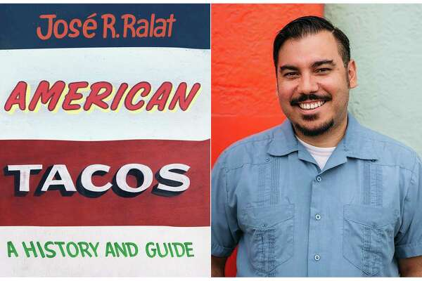 """This combination photo shows """"American Tacos: A History and Guide,"""" left and a portrait of author JosA© R. Ralat. The book illustrates Ralat's travels throughout the United States while he examines the global metamorphosis of a food that transcends borders, barriers, or bullets. (University of Texas Press, left, and Jose R. Ralat via AP)"""