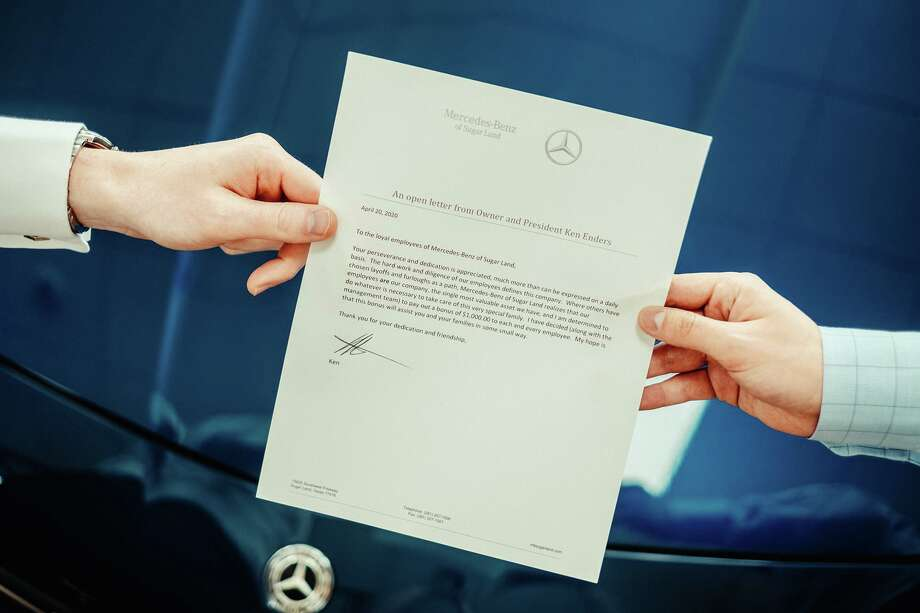 Mercedes-Benz of Sugar Land recently surprised each of its 153 employees with a $1,000 check, for a total sticker price of $153,000. Shown here is a copy of the letter to each employee announcing the bonuses. Photo: Courtesy Photo
