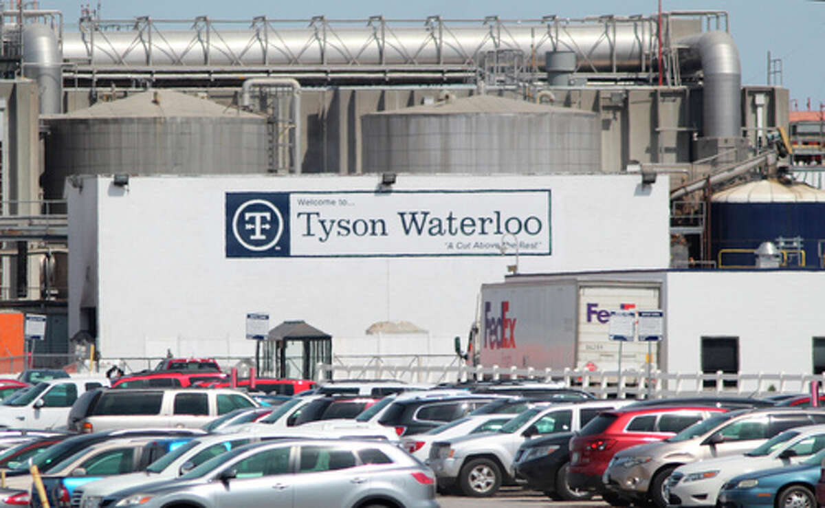 A Tyson Fresh Meats plant stands in Waterloo, Iowa, date not known. On Friday, April 17, 2020, more than a dozen Iowa elected officials asked Tyson to close the pork processing plant because of the spread of the coronavirus among its workforce of nearly 3,000 people. (Jeff Reinitz/The Courier via AP)