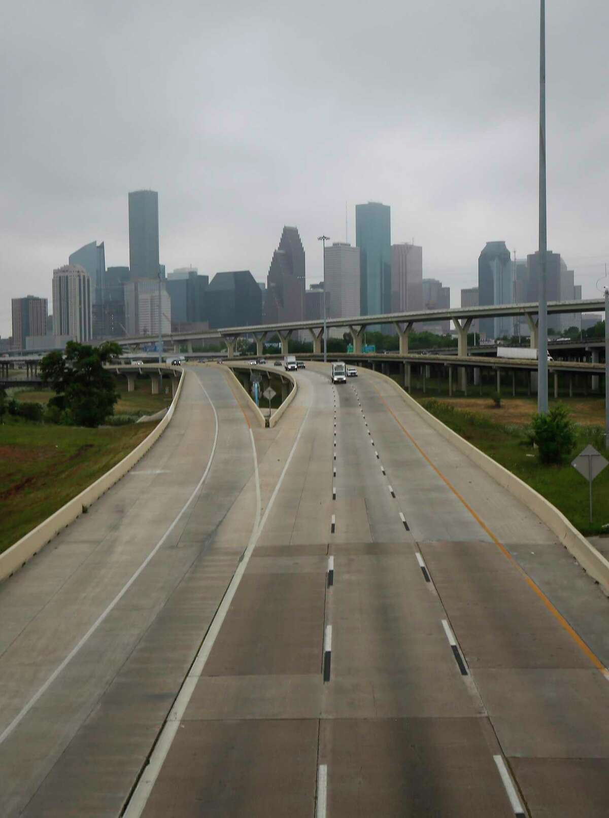 Traffic was light on I-45 North after the Mayor released his Houston Climate Action Plan on Earth Day Wednesday, April 22, 2020, in Houston.