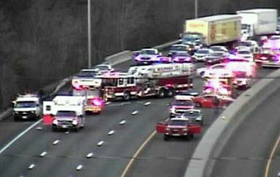 A screenshot from the CTDOT traffic camera in the area of a crash on I-95 south in Milford, Conn., on Wednesday, April 22, 2020. Photo: Contributed Photo