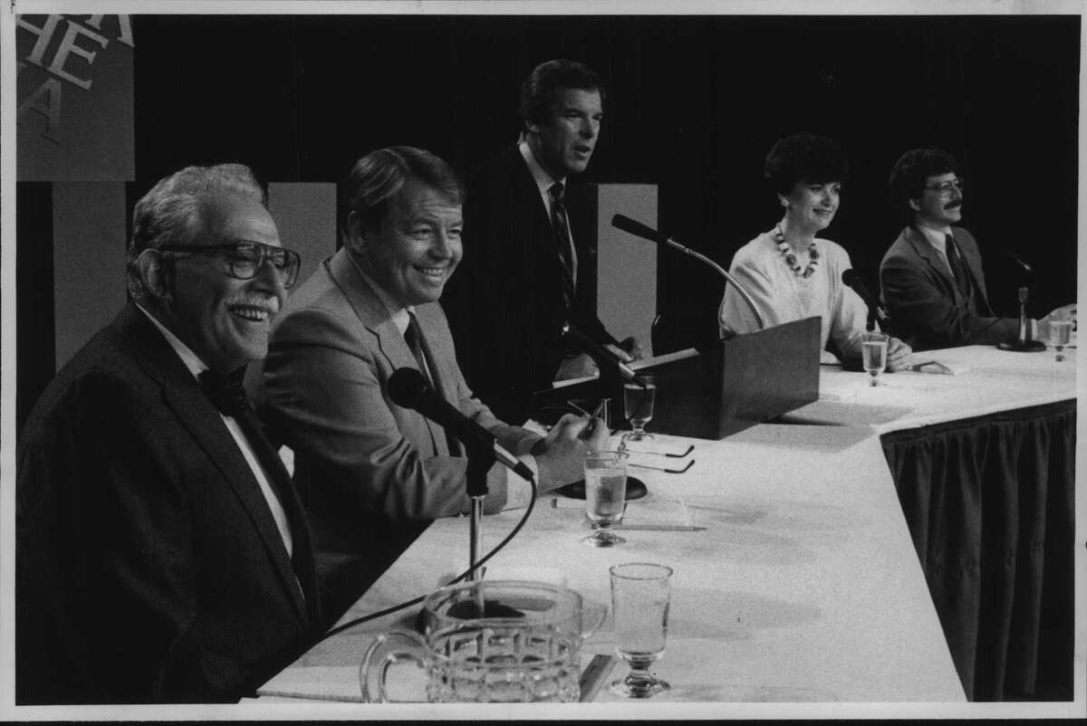 Media executives host panel discussion at The Egg in Albany, New York - Harry Rosenfeld, Capital Newspapers; John McLaughlin, Channel 10; Peter Jennings; Peg Breen, Channel 17; and Brian Wittemore, WGY. April 23, 1985 (Roberta Smith/Times Union Archive)