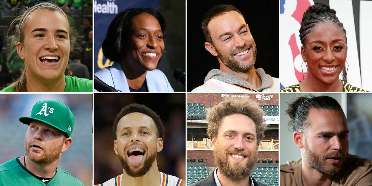 Clockwise, from top left: Sabrina Ionescu, Charmin Smith, Gabe Kapler, Nneka Ogwumike, Brandon Crawford, Hunter Pence, Stephen Curry and Brett Anderson.