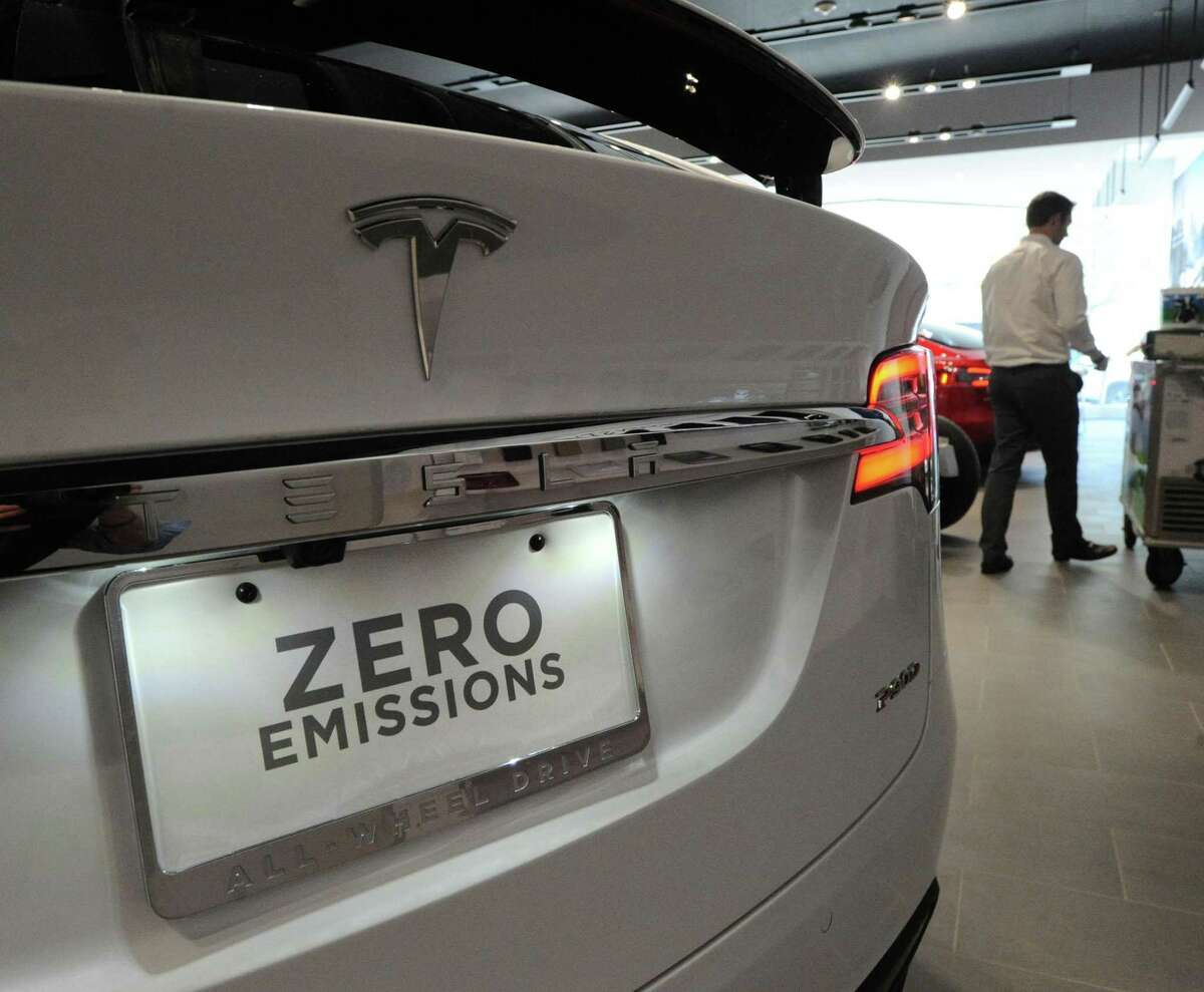 File photo of a Tesla Model X at the Tesla store on Greenwich Avenue in Greenwich, Conn., taken on Friday, Oct. 7, 2016. Tesla designs and manufactures premium electric vehicles.