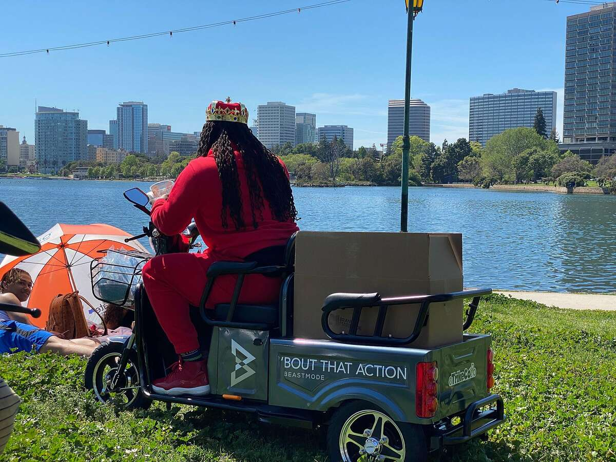 Marshawn Lynch delivers protective masks at Lake Merritt in Oakland on Wednesday, April 22.