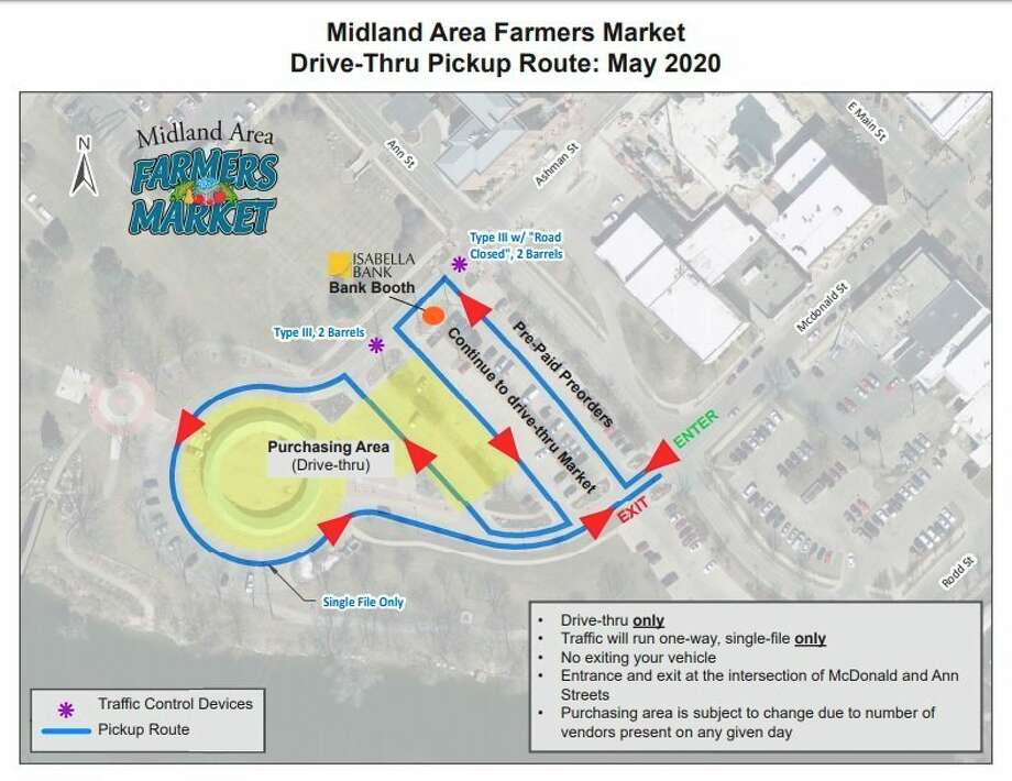 A map shows the drive-thru pickup route that has been developed due to the COVID-19 Pandemic, to be used at the Midland Farmers Market for 2020. (Map provided)