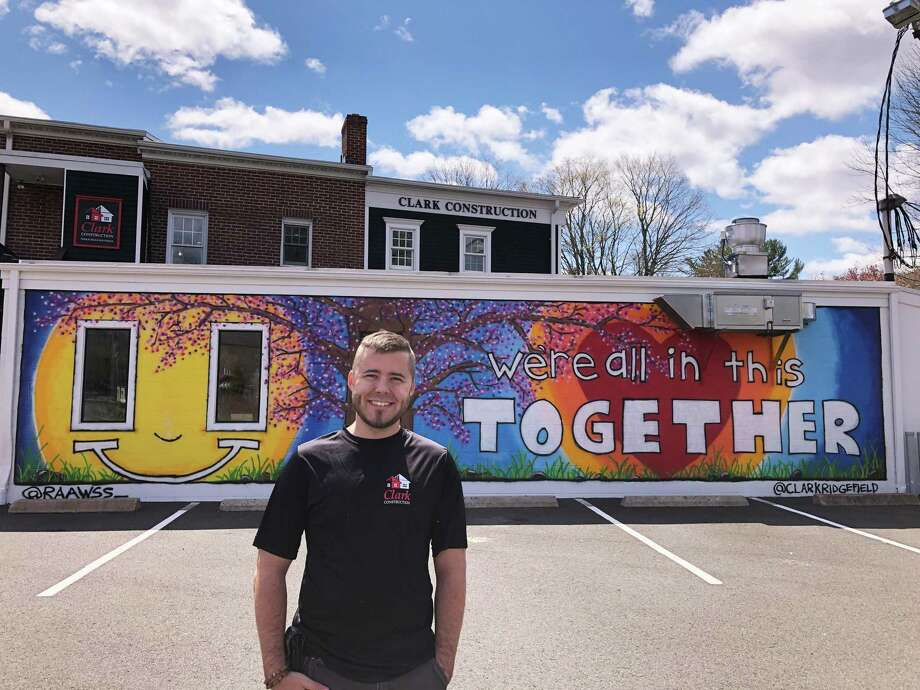 Ross Clark's upbeat mural is easily visible to southbound drivers on Route 7 in Branchville. Photo: Contributed Photo