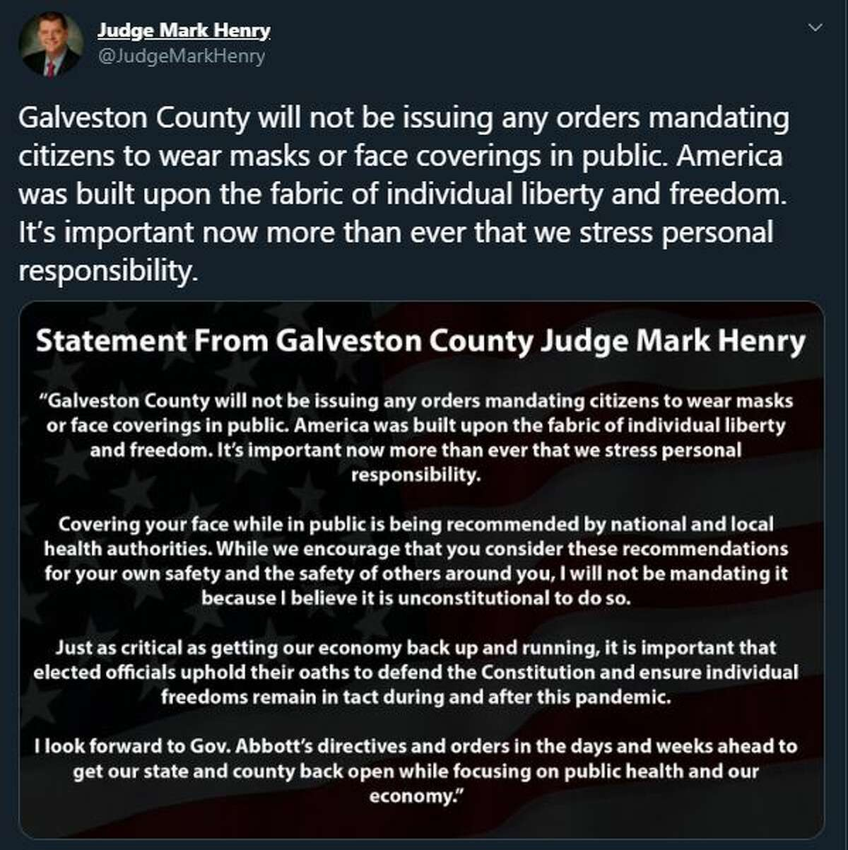 Galveston County Judge Mark Henry said he does not plan to issue a similar mask order.