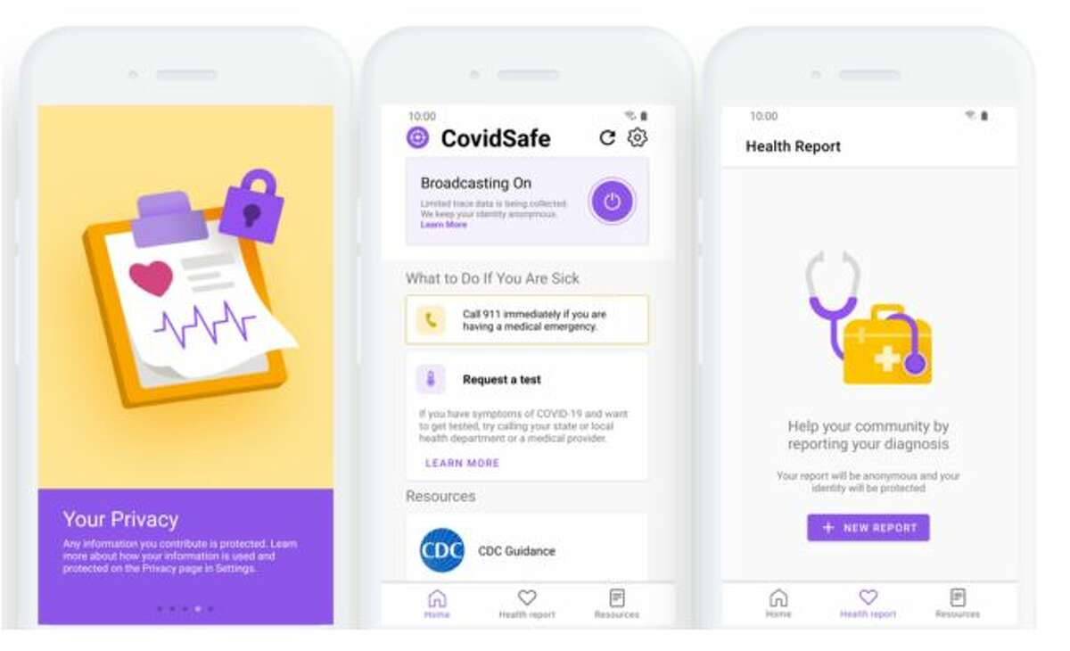 Android interface for CovidSafe, a new contact tracing app being piloted by the University of Washington and Microsoft.