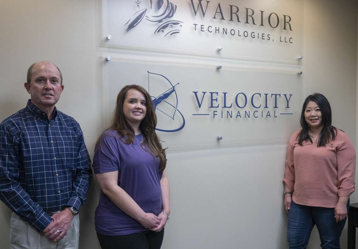 Justin Ryan, Irene Hinojos and Kristin Bennett, with Velocity Financial talk about how they are helping small business 04/23/2020 generate cash flow. Tim Fischer/Reporter-Telegram