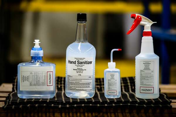At United's San Francisco Maintenance base, workers are making hand sanitizer for employees during the COVID-19 pandemic.