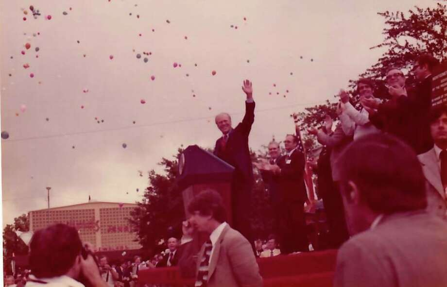 President Gerald Ford visited Conroe on April 28, 1976 as a part of his presidential campaign. He gave a speech in downtown Conroe, dedicated a plaque for the Montgomery County Veterans Memorial Park and visited with local Republican leaders before returning to Intercontinental Airport and moving on to Waco. The photos pictured here were taken by then County Treasurer Dorothy Buckalew and used with permission of her son Howard Buckalew. Photo: Photos By Dorothy Buckalew