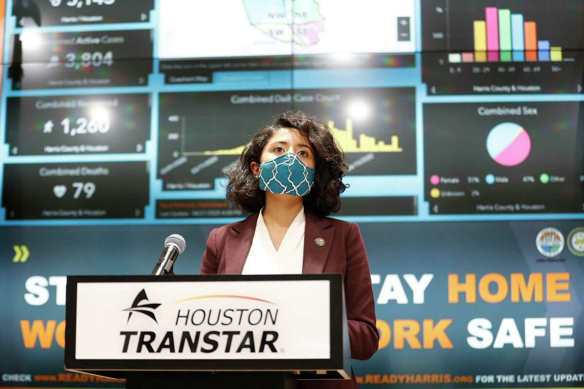 Harris County Judge Lina Hidalgo speaks at a news conference, wearing a mask, to provide COVID-19 announcements and updates, including the new rules requiring everyone to wear masks while outside, in Houston, Wednesday, April 22, 2020.