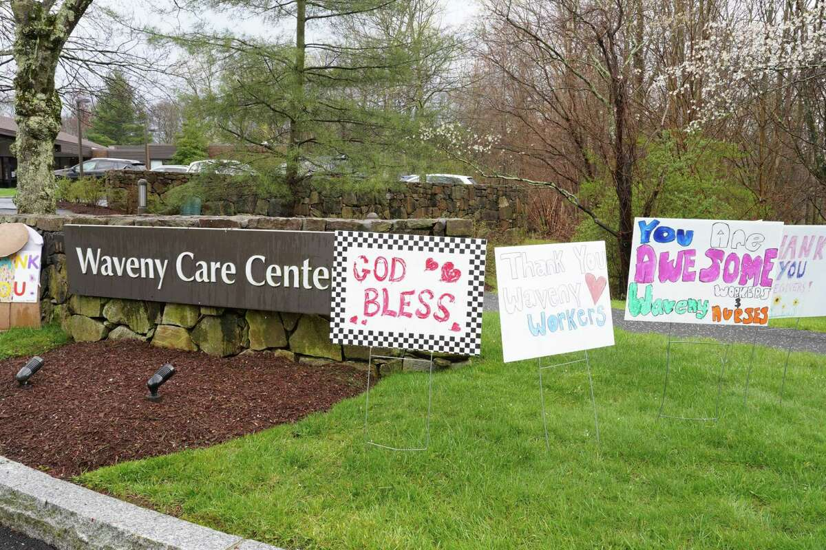 More than 30 thank yous to health care workers are flanking the driveways of Waveny LifeCare Network on Farm Road, in New Canaan on April 21, 2020.